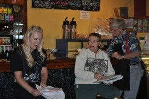 """Kate Hauble (Micki) and Joey Halvorson (Lolly) rehearsing the """"you've got moxie"""" scene at Coco Moon coffee shop downtown Brainerd, MN, spring 2012."""