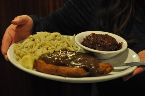 Mary had Jaeger Schnitzel with spaetzles and gravy and red cabbage.