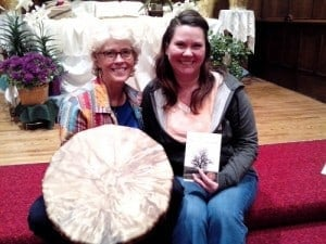 Colleen Baldrica and Mary Aalgaard, drumming circle and book signing in Brainerd, MN.