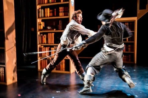 Bryan Porter as d'Artagnan, Casey Hoekstra as Rochefort (or the man in black with the scar) Photo by Dan Norman