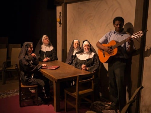 Homer and the nuns sharing a musical moment. Lilies of the Field at Open Window Theatre.