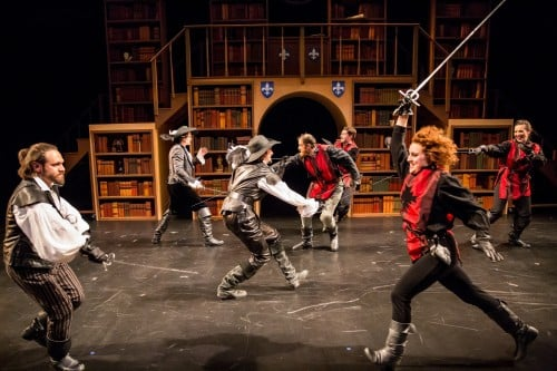 Shad Cooper, Ross Destiche, Nate Cheeseman, Dan Hopman, Casey Hoekstra, Aeysha Kinnunen and Anna Hickey in Walking Shadow Theatre Company's THE THREE MUSKETEERS. May 9 - 25, 2014 in the Dowling Studio at the Guthrie Theater, Minneapolis. Photo by Dan Norman.
