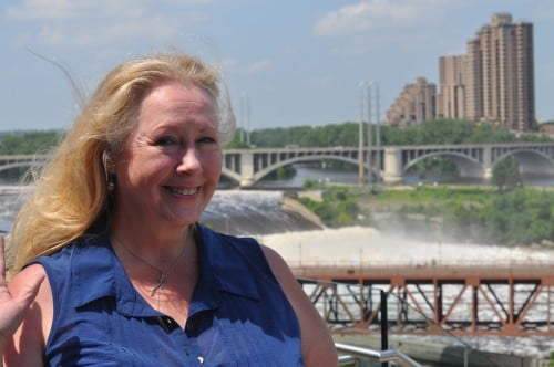 Cher, The Texas Playwright Chick, on the Stone Arch Bridge in Minneapolis. We had a beautiful day together!