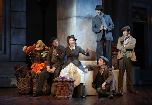 "Joel Liestman (""Loverly Quartet""), Helen Anker (Eliza Doolittle), Alex Gibson (""Loverly Quartet""), Jared Oxborough (""Loverly Quartet"") and Joe Bigelow (""Loverly Quartet"") in the Guthrie Theater's production of My Fair Lady, book and lyrics by Alan Jay Lerner and music by Frederick Loewe. Adapted from George Bernard Shaw's play and Gabriel Pascal's motion picture Pygmalion. Directed by Joe Dowling, set design by Walt Spangler, costume design by Fabio Toblini and lighting design by Philip S. Rosenberg. June 28-August 31, 2014, on the Wurtele Thrust Stage at the Guthrie Theater, Minneapolis. Photo by Joan Marcus."