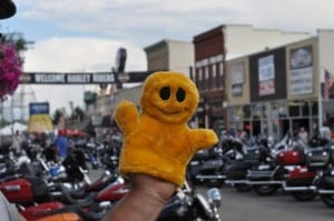 Mr. Happy is very happy at the Sturgis Motorcycle Rally!