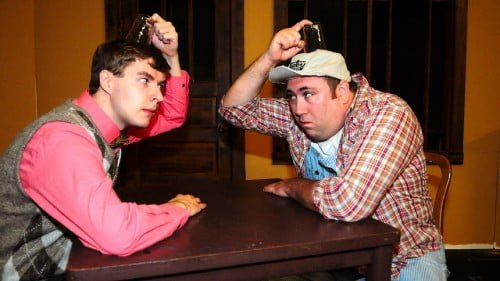 """Mitchell Dallman (left) and Marc Oliphant perform in the upcoming play """"The Foreigner"""" at Central Lakes College. The play will run Oct. 3-11. Brainerd Dispatch/Steve Kohls"""