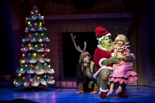 Brandon Brooks as Max, Reed Sigmund as the Grinch, and Natalie Tran as little Cindy Lou Who.