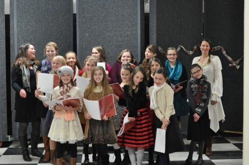 """The Christmas Carolers, looking all """"sugar and spice and everything nice"""" as we warm up for our opening night performance with Stage North's A Christmas Carol"""