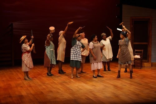 "Thomasina Petrus, Sofia, leading the women in a heart pounding chorus of ""Hell No!"" during Park Square's performance of ""The Color Purple."" Photos by Petronella J. Ytsma"