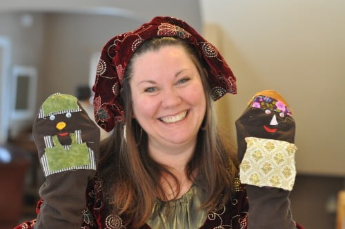 Mary Aalgaard and her sock puppets Willie and Millie Cottonpoly