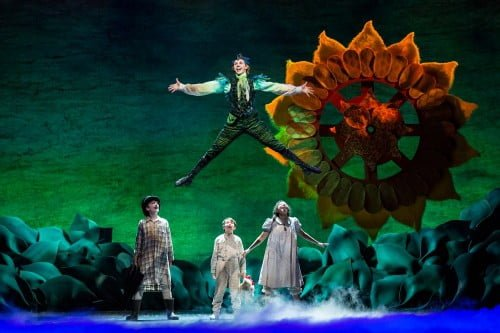 Christian Tesch, Gavin Nienbauer, Alanna Saunders, and Tyler Michaels in CTC Peter Pan.  Photo by Dan Norman