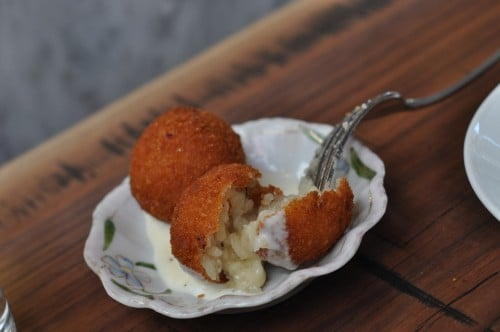 Truffle risotto croquette with a light cream sauce