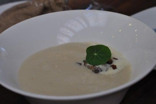 Sunchoke Soup at Spoon and Stable, roasted sunchokes, black truffle, bacon lardons