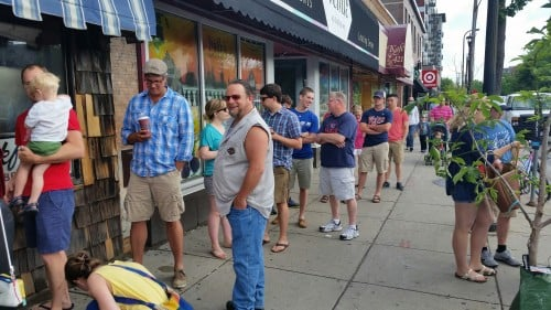 The line lengthens as we wait to get a stool inside Al's Breakfast in Dinkytown.