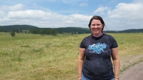 I wore my new Jackpine Gypsies t-shirt the day we road the Custer State Park and saw the large herd of buffalo.