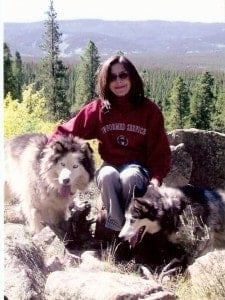 Joanne Sundell with her Huskies, Zellie and Xander.