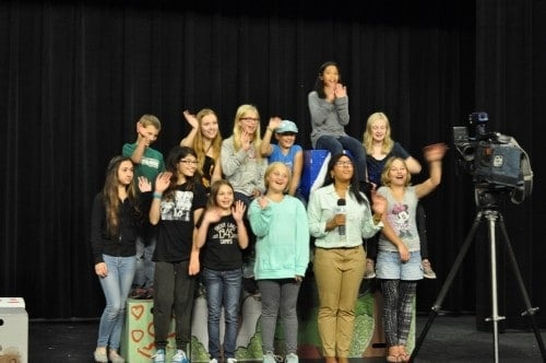 Mystic Middle School group, waving to the camera of Lakeland Public Television. Play off the Page theatre class, Fall 2015