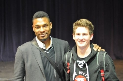 Poet Terrance Hayes and Jake Bankers at the poetry reading at Central Lakes College in Brainerd, MN. October 23, 2015