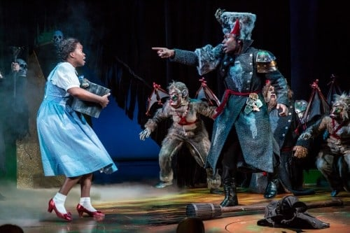 Dorothy (Traci Allen Shannon) facing the Flying Monkeys. Photo by Dan Norman