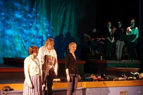 Widows of the Edmond Fitzgerald, Singers and musicians in the background. Stage North production of Ten November
