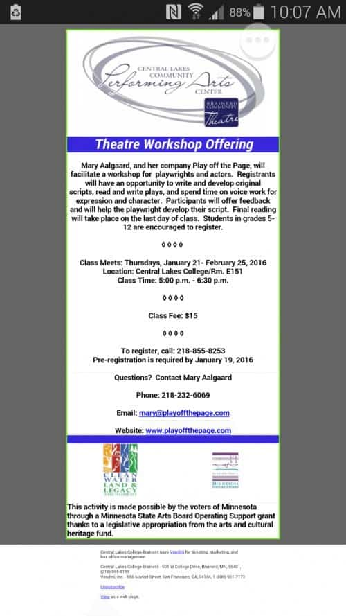 Theatre Workshop for Playwrights and Actors
