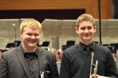 Zach and Jake, seniors and trumpeters, friends since Kindergarten.