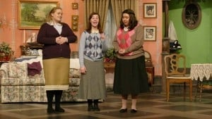 Rebecca Aanerud, Sheridan Wilson, and Mackenzie Papillon-Renford playing three of the Gilbreth sisters in GLAPA's production of Cheaper by the Dozen.