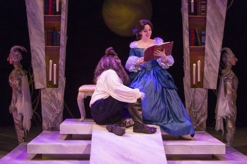 Beauty and the Beast at the Chanhassen Dinner Theatre, Ruthanne Heyward as Belle and Robert O. Berdahl as Beast. Photo by Heidi Bohnenkamp