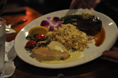 Opa fish and beef filet with rice pilaf.  Break the mouth? Oh, ya. And, burst the belly!