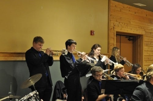 Brainerd High School Jazz Band, trumpet section. My boy is first in line, horn up, playing those sweet notes.