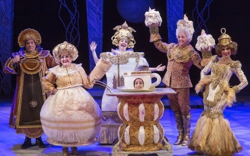 The main servant-objects in Beauty and the Beast at the Chanhassen Dinner Theatre. Scott Blackburn (Cogsworth) Susan Hofflander (Mrs. Potts) Emily Rose Skinner (Wardrobe) Mark King (Lumiere) and Ann Michels (Babette). Photo by Heidi Bohnenkamp