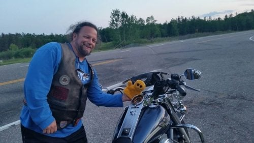 The Biker Chef, Mr. Happy and the 2003 Road King, turning over 100,000 miles.