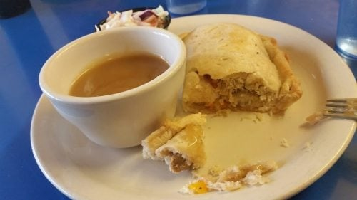 My lunch at Betty's Pies, chicken pasties and gravy. Good comfort food on a cold day along the North Shore.