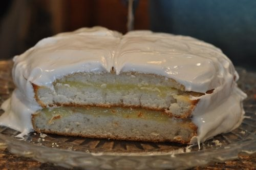 Mom's favorite cake is white cake with lemon filling and seven minute frosting.