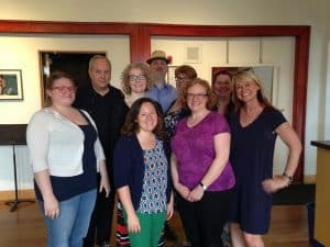 Playwright Lee Blessing with the Twin Cities Theater Bloggers at the Playwrights' Center in Minneapolis. Photo by Jessica Franken.