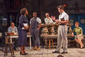 Kris L. Nelson (Eddie Fenton), Margo Moorer (Wiletta Mayer), Marcel Spears (John Nevins), Peter Thomson (Bill O'Wray), John Catron (Al Manners) and Chloe Armao (Judy Spears) in the Guthrie Theater's production of Trouble in Mind, by Alice Childress and directed by Valerie Curtis-Newton. Scenic design by Jennifer Zeyl, costume design by Melanie Burgess, lighting design by ML Geiger. May 7 – June 5, 2016 on the McGuire Proscenium Stage at the Guthrie Theater, Minneapolis. Photo by Keri Pickett.