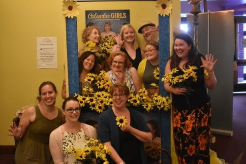 Twin Cities Theater Bloggers posing before seeing Calendar Girls together at Park Square Theatre in St. Paul, MN