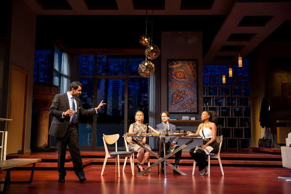 Bhavesh Patel (Amir), Caroline Kaplan (Emily), Kevin Isola (Isaac) and Austene Van (Jory) in the Guthrie Theater's production of Disgraced, directed by Marcela Lorca and written by Ayad Akhtar. Set design by James Youmans, costume design by Ana Kuzmanic and lighting design by Rui Rita. July 16-August 28, 2016 on the McGuire Proscenium Stage at the Guthrie Theater, Minneapolis. Photo by Dan Norman.