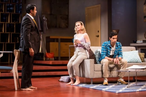 Bhavesh Patel (Amir), Caroline Kaplan (Emily) and Adit Dileep (Abe) in the Guthrie Theater's production of Disgraced, directed by Marcela Lorca and written by Ayad Akhtar. Set design by James Youmans, costume design by Ana Kuzmanic and lighting design by Rui Rita. July 16-August 28, 2016 on the McGuire Proscenium Stage at the Guthrie Theater, Minneapolis. Photo by Dan Norman.