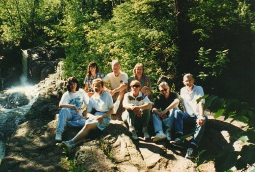 The writers posing for a photo on a trail near Ann's home in Duluth, MN