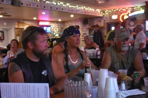 Burgers, beers, and friends at the VFW in Sturgis, SD