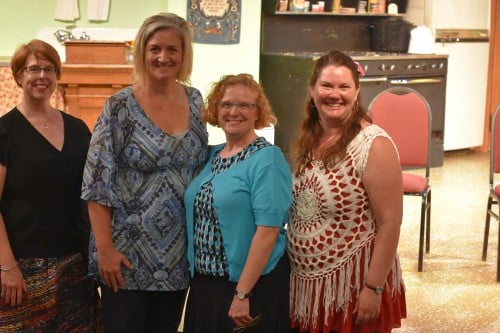 Carol Jackson, Greta Grosch, Julie Jackson, and Mary Aalgaard, blogger night at Rise Up, O Men!