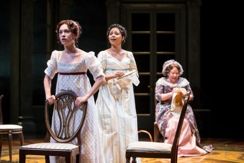 Alejandra Escalante (Marianne Dashwood), Jolly Abraham (Elinor Dashwood) and Suzanne Warmanen (Mrs. Dashwood) in the Guthrie Theater's production of Sense and Sensibility, adapted by Kate Hamill, based on the novel by Jane Austen and directed by Sarah Rasmussen. Scenic design by Junghyun Georgia Lee, costume design by Moria Sine Clinton, lighting design by Charlie Morrison. September 10 - October 29, 2016 on the Wurtele Thrust Stage at the Guthrie Theater, Minneapolis. Photo by Dan Norman.