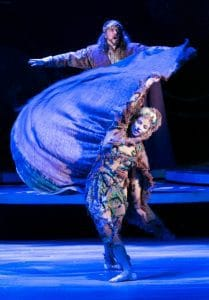 Keith Rice as Arthur, Renee Guittar as Nimue (a spirit) in CDT's production of Camelot. Photo by Heidi Bohnenkamp