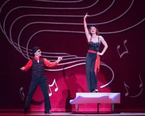 Brian Sostek as Phil Davis and Jenny Piersol as Judy Haynes in Irving Berlin's White Christmas, playing Dec. 2016 at the Ordway in St. Paul, MN Photo by Rich Ryan Photography