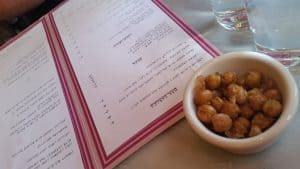Fried Chickpeas and menu at Prune Restaurant in NYC