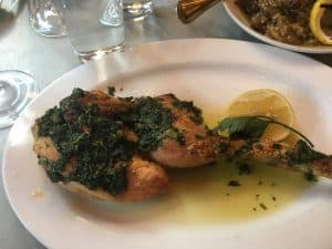Country Chicken dish at Prune Restaurant in NYC