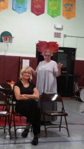 Karen Wiese-Thomspon (in the crazy God hat) and Michelle Barber, during the post-play discussion of Electra, presented by Ten Thousand Things Theater, in Emily, MN