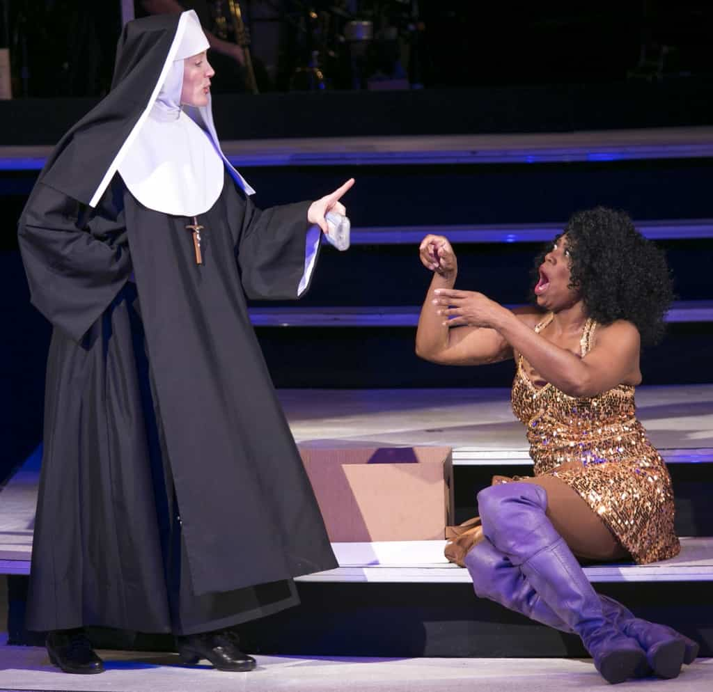 Norah Long as Mother Superior and Regina Marie Williams as Delores in Sister Act at the Chanhassen Dinner Theatres, photo by Heidi Bohnenkamp