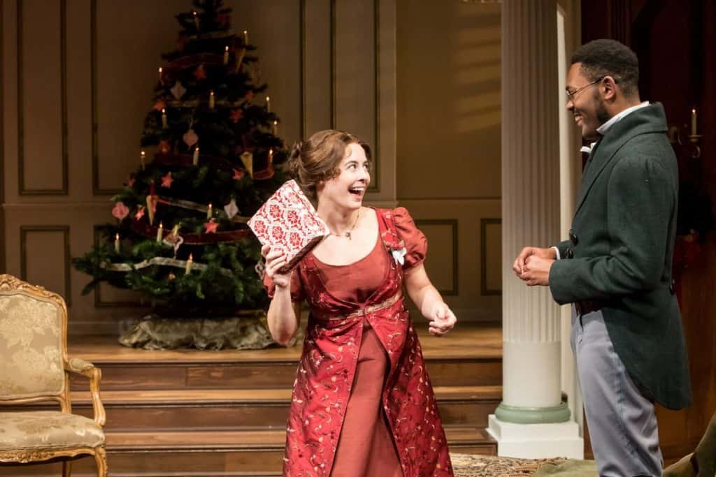 Mary Bennet (Christian Bardin) and Arthur de Bourgh (JuCoby Johnson) in Miss Bennet: Christmas at Pemberly at the Jungle Theater. Photo by Dan Norman